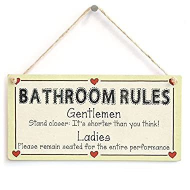 Meijiafei Bathroom Rules - Gentlemen Stand Closer It's Shorter Than You Think! Funny Sign 10 x5