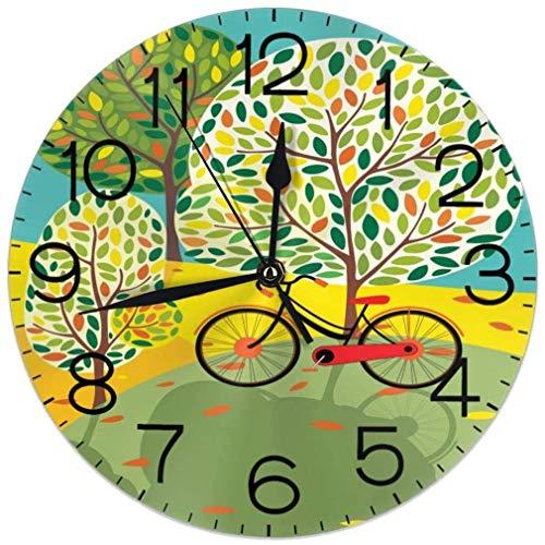 Reloj de pared con diseño de árbol de la vida de cuatro estaciones para bicicleta, silencioso, funciona con pilas, 9,5 pulgadas, para estudiantes, oficina, escuela, hogar, reloj decorativo