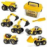 Vehículos de construcción Juguetes, 6 Mini Excavadora Tractor Transporter Engineering Truck para niños de 3 años