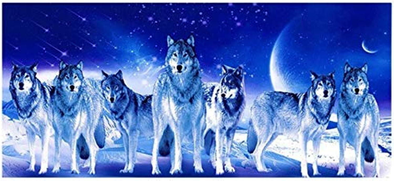 MYLOOO Neue Mond Nacht 5Ddiy Diamant Diamant Diamant Malerei Wolf Gruppe Muster Diamant Kreuzstich Diamant Stickerei Tier Wandaufkleber 120X50 cm B07JJG64CC   Elegantes Aussehen  024139