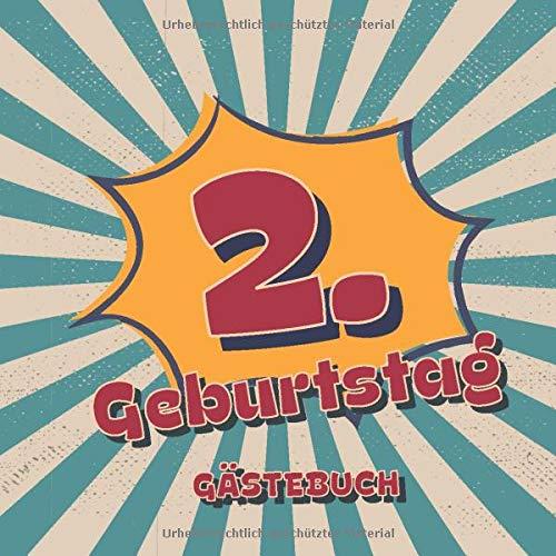 2. Geburtstag Gästebuch: Retro Style Geburtstags Party Gäste Buch für Familie und Freunde um...