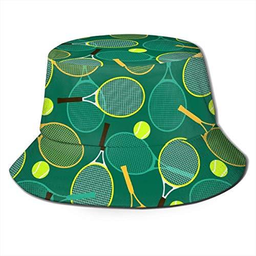 Raquetas y Pelotas de Tenis Sombrero Unisex con Cubo Sombrero Plano de Pescador Sombrero para el Sol al Aire Libre