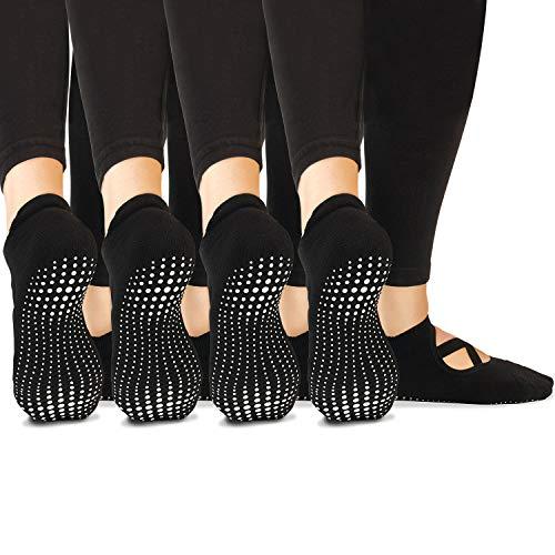 LA Active Grip Socks - 4 Pairs - Yoga Pilates Barre Non Slip Ballet Pointe Straps (Noire Black x 4, Medium)