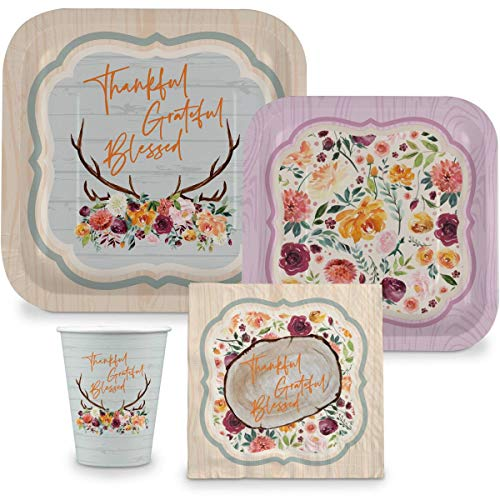 Fall Thanksgiving Disposable Paper Plate Set, Thankful, Grateful, Blessed Plate Set – 9' Plates, 7' Plates, 9oz Cup, Napkins - Serves 16