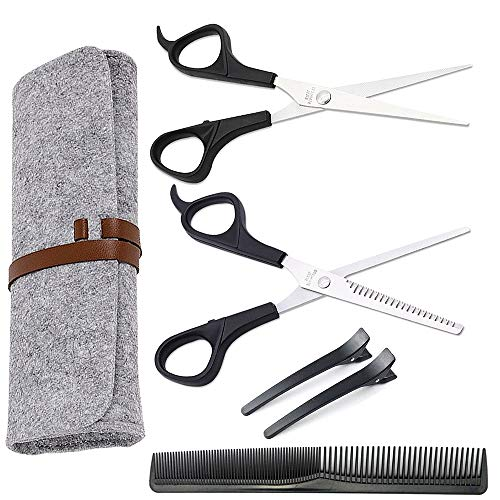 Haarschneideset Friseurschere Haarschere einseitige Effilierschere Modellierscheren Ausdünnschere Rostfrei Kamm Haarspange