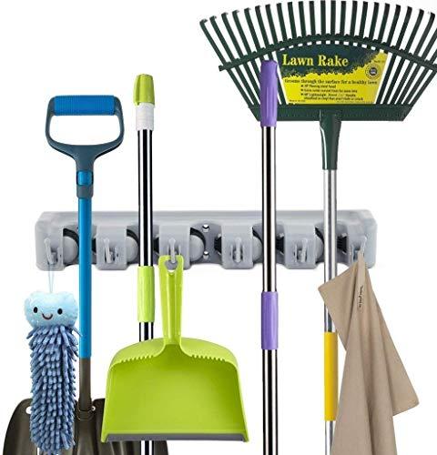 Newdora Mop Broom Holder Broom Organizer Key Rack Towel Hooks 5 Non-slip with 6 Hooks Wall Closet Mounted Organizer Brooms Mops Rakes Garage Storage Organization Systems