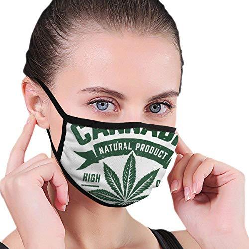 Emblema monocromático con hoja de marihuana. Máscara de media cara con orejeras antipolvo, antiempañamiento y antiviento