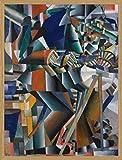 1art1 Kazimir Malévich Póster Impresión Artística con Marco (Madera DM) Roble - El Afilador de Cuchillos Principio de la Animación, 1913 (80 x 60cm)