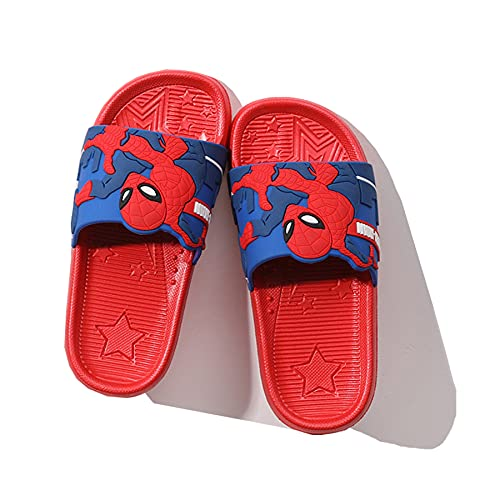 Kinder Hausschuhe Cosplay Spiderman Fußbett Pool Sandale Sommer Mädchen Strand Avenger Muster Flip Flop Indoor Badezimmer Dusche rutschfeste Sandalen,Red- 35~ nner Length 21cm