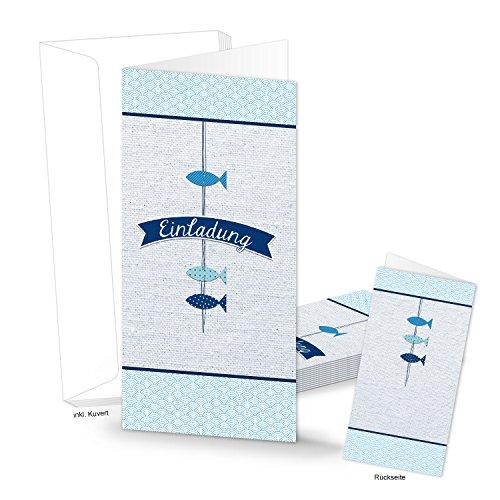 Logbuch-Verlag 5 Einladungskarten EINLADUNG 3 Fische türkis blau Kommunion Taufe Geburtstag Kindergeburtstag Firmung Karten mit Kuvert