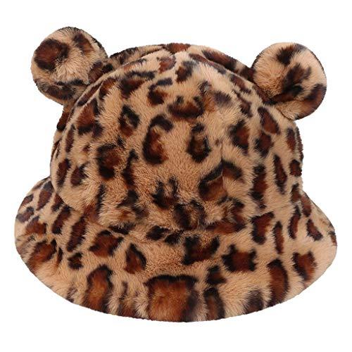 laimoere Women's Winter Fluffy Plush Warm Bucket Hat, Pompon Bear Ear Cloche Fisherman Hat
