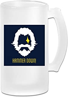 Printed 16oz Frosted Glass Beer Stein Mug Cup - Reinhardt Hammer Down Logo Ov-erwatch - Graphic Mug