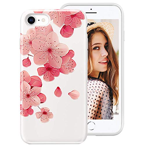 iPhone SE 2020 Case,iPhone 8 Case,iPhone 7 Case for Girls Women, 3D Relief Floral Flower Cute Design Translucent Soft Silicone Protective Phone Case Cover for Apple iPhone SE2/8/7,Cherry