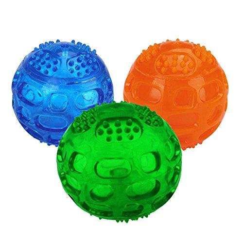 JULYFOX Hundeball, Hundespielzeug mit Quietscher Squeezz Ball aus Naturkautschuck mit Dental-Zahnpflege-Funktion Dentalball Spielball Wurfball Kauspielzeug 3 Stück (1 Blau+1 Grün+1 Orange)