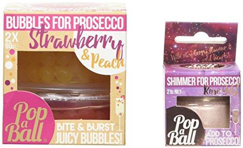 Rotgold schimmernder Popaball für Prosecco, Erdbeer und Pfirsisch, Popaball Blasen