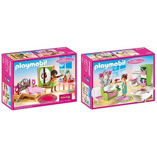 Playmobil 5309 - Schlafzimmer mit Schminktischchen &  5307 - Romantik-Bad