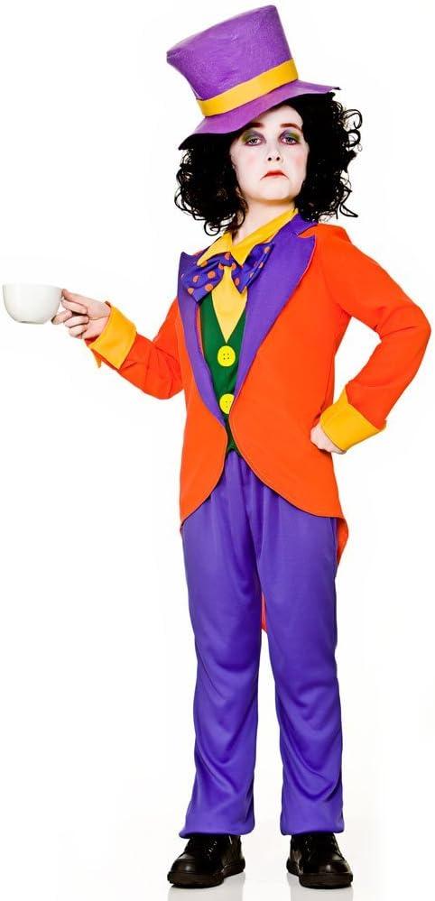 XL Kids Wonderland Mad Tea Party Fancy Dress Halloween Boys Hatter Costume S