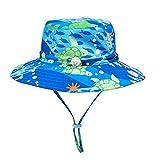 LACOFIA Cappello da Sole per Bambino Cappellino Estivo da Protezione Solare Neonato Berretto da Spiaggia a Tesa Larga con Cinturino sottogola Regolabile Tartaruga Blu 2-3 Anni