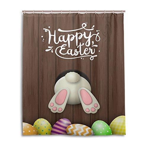 MyDaily Bunny Rabbit Buntes Eier Happy Ostern Duschvorhang 152,4 x 182,9 cm, schimmelresistent und wasserdichte Polyester-Dekoration Badezimmer Vorhang