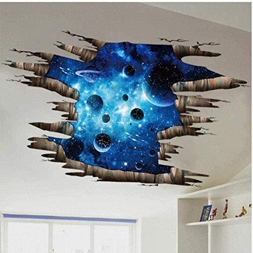 Pegatina De Pared 3D Cosmic Space Galaxy Pegatinas Para Niños Para Habitaciones De Niños Guardería Dormitorio De Bebé Techo Decoración Del Hogar Calcomanías Murales De Suelo 60 X 90 Cm