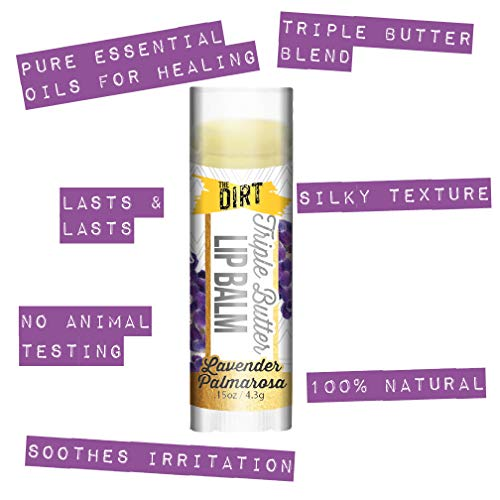 The Dirt All Natural Lip Balm Lip Treatment - Bees Wax and Essential Oils Repair Dry Chapped Lips and Moisturize, Soy Free and Petroleum Free - Lavender Palmarosa