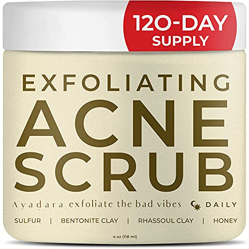 Ayadara Exfoliating Acne Scrub   Cleansing Sulfur Facial Wash for Severe, Cystic, & Hormonal Acne   Bentonite Clay Acne Mask   Zit, Milia, & Pimple Spot Treatment for Teens & Adults   120-Day Supply