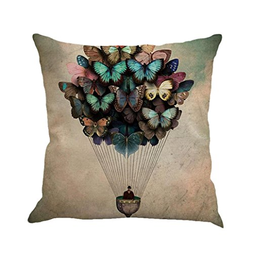 Kavitoz Pillow Cases, Butterfly Painting Linen Cushion Cover Throw Waist Pillow Case Square Sofa Home Decor (B)