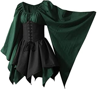 Wraith of East Women's Renaissance Medieval Costume Flare Sleeve Corset Skirt Overskirt Elven Archer Fancy Dress Irish Ove...
