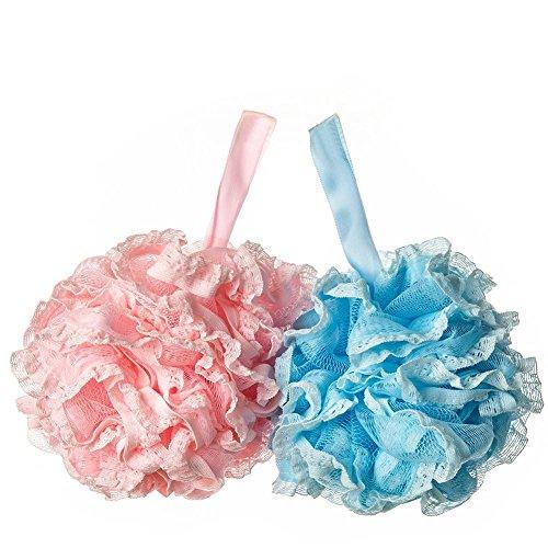 Da.Wa Lot de 2 boules de bain en dentelle épaisses pour le dos et le corps pour le bain et le nettoyage des enfants