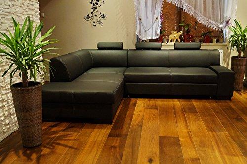 Quattro Meble Hoekbank Londen I 3z 200 x 260 cm Sofa Couch met bedfunctie, bedkast en hoofdsteunen zwart echt leer Hoek Couch grote kleurkeuze
