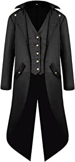 H&ZY Men's Steampunk Vintage Tailcoat Jacket Gothic Victorian Frock Coat Uniform Halloween Costume