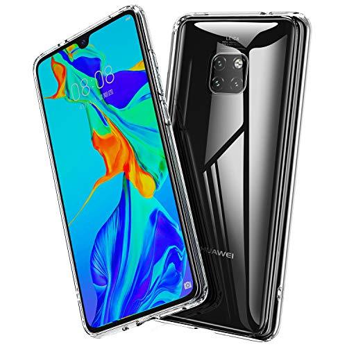 BANNIO Hülle Kompatibel mit Huawei Mate 20 Pro,Durchsichtige 9H Hartglas Handyhülle,Kratzfeste mit Weichem TPU Bumper Glashülle Schutzhülle Hülle für Huawei Mate 20 Pro-Crystal Clear