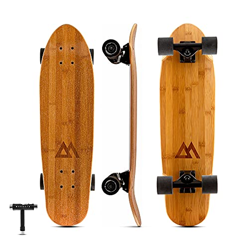 Magneto Mini Cruiser Skateboard Cruiser | Short Board | Canadian Maple Deck - Designed for Kids, Teens and Adults … (Bamboo)