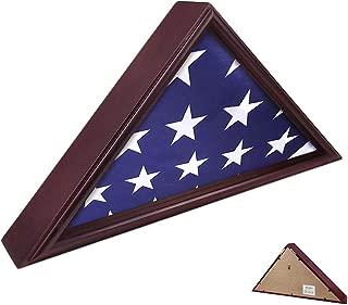 AtSKnSK 5x9 Flag Display Case Burial Funeral Military Veteran Flag Holder Frame Box