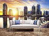 XHXI Arte de pared Paisaje urbano de Dubai en la noche Emiratos Árabes Unidos Impresión de pared Mur Pared Pintado Papel tapiz 3D Decoración dormitorio Fotomural sala sofá pared mural-200cm×140cm