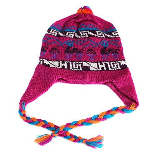 Chullo Alpaca-Mischung, hergestellt in Peru, Lamas, mehrfarbig - - MEDIUM