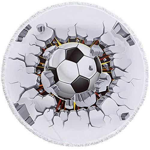 BCDJYFL Impresas Toalla De Playa Fútbol Toalla Deportiva Secado Rápido Absorbente para Deportes Viajes Playa Camping Tamaño.-Diámetro: 150Cm