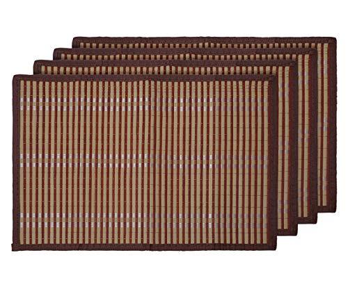 Alsino Tischset Platzmatten Platzset Unterlage Esstisch Sets Abwaschbar Home Dekoration aus Umweltfreundlichem Bambus 30 x 40 cm (4 Stück), Braun Hellbraun