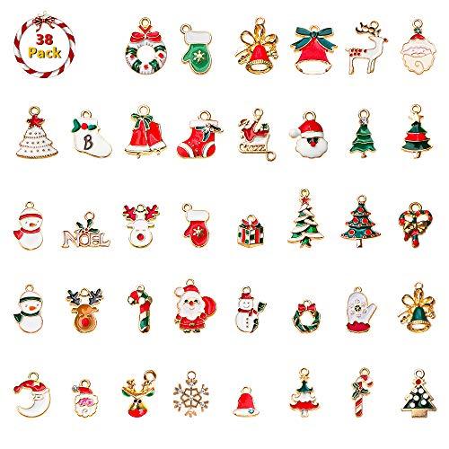 Fulushou Weihnachtsanhänger 38 Stück Weihnachten Anhänger Charms Weihnachten DIY Basteln Ornamente Halskette Armband Ohrringe Anhänger Weihnachtsschmuck