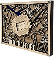 Old Trafford 3D Wooden Football Stadium Map Wall Decoration - Perfect Manchester United Gift