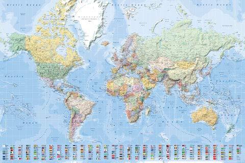 Landkarten - Poster - XL-Weltkarte mit Flaggen englisch/XL-World Map with Flags English + Ü-Poster