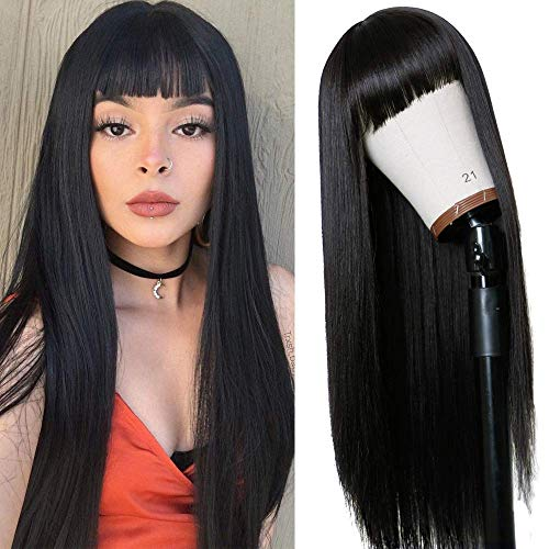 Vvan Long Straight Remy Hair Wigs Natural Black Heat Resistant Fiber Hair Full Machine Wig with Bangs Cosplay Party Wig For Fashion Women(22 Inches Natural Black Hair)