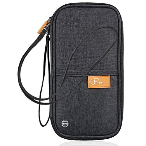 Etercycle パスポートケース スキミング素材使用 パスポート 航空券 現金 カード 大容量 防水 軽量 手首紐と首ひ付き(ブラック)