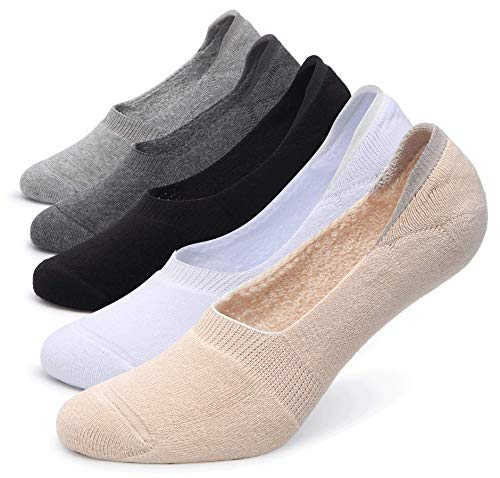 Pareberry Women's Thick Cushion Cotton Athletics Casual Low Cut Flat Non-Slip Boat Liner No Show Socks-5/10 Pack (Shoe Size: 5-8.5, A-multicoloured)