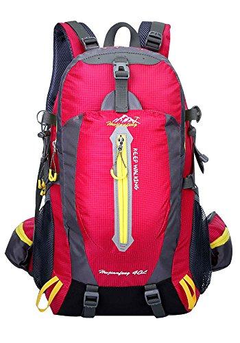 Hwjianfeng Herren Damen Rucksack,Wasserdichter Outdoor Wandern Camping Reisen Trekkingrucksäcke in 8 Farbe Wählbar,50 x 32 x 15 cm,40 Liter(Rose)
