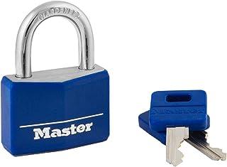 Master Lock Padlock, Covered Aluminum Lock, 1-9/16 in. Wide, Blue, 142DCM