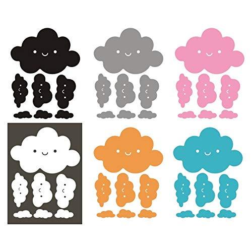 LSMYE Smiley Wolken Wandtattoos Vinyl Wandtattoos Smiley Wolken Wandaufkleber Kinderzimmer Glas Dekor Wandaufkleber Gelb 58X43CM