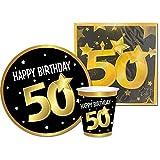 Partycolarità Kit desechable 50 cumpleaños – Juego de vajilla 50 cumpleaños – 6 platos, 6 vasos y 20 servilletas – 50 años – Happy Birthday 50