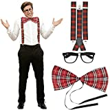 NET TOYS Kit Costume Geek Set déguisement fayot quadrillé Bretelles de Pantalon nœud...