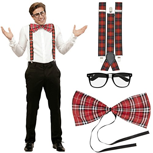NET TOYS Set Disfraz Friki Vestimenta empolln a Cuadros Tirantes Pajarita Gafas Cuadros Escoceses Atuendo Geek Outfit hortera Bad Taste Disfraz de Nerd